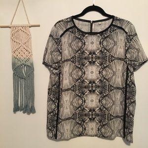J Brand Tops - J BRAND Black Tan back zipper short sleeve blouse